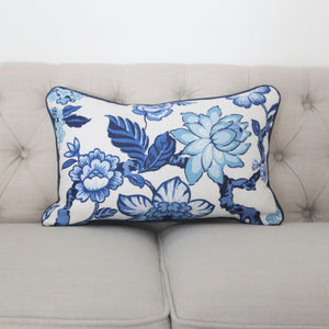 READY TO SHIP - Huntington Gardens Bleu Marine with Navy Piping 13x20