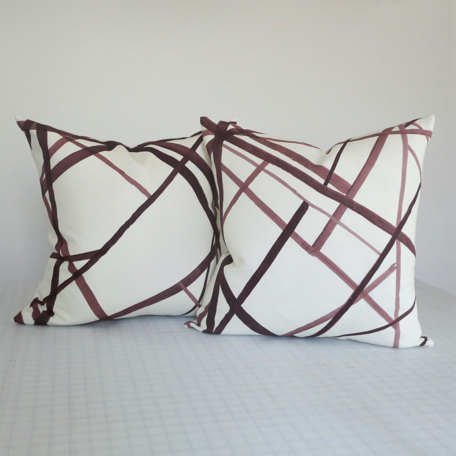 READY TO SHIP - Channels Plum/Oat 20x20 (Pair)