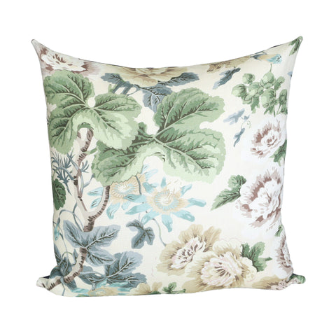 READY TO SHIP - Highgrove Floral Rich Cream with Navy Linen 20x20