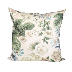 READY TO SHIP - Highgrove Floral Rich Cream with Flax Linen 20x20