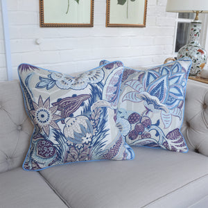 READY TO SHIP - Zanzibar Hyacinth with Bel Blue Piping 20x20 (Pair)