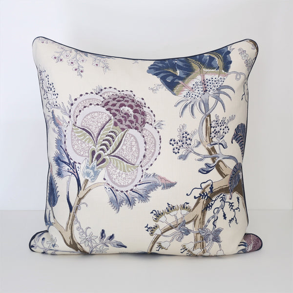 READY TO SHIP - Indian Arbre Hyacinth with Navy Piping 25x25 (Pair)