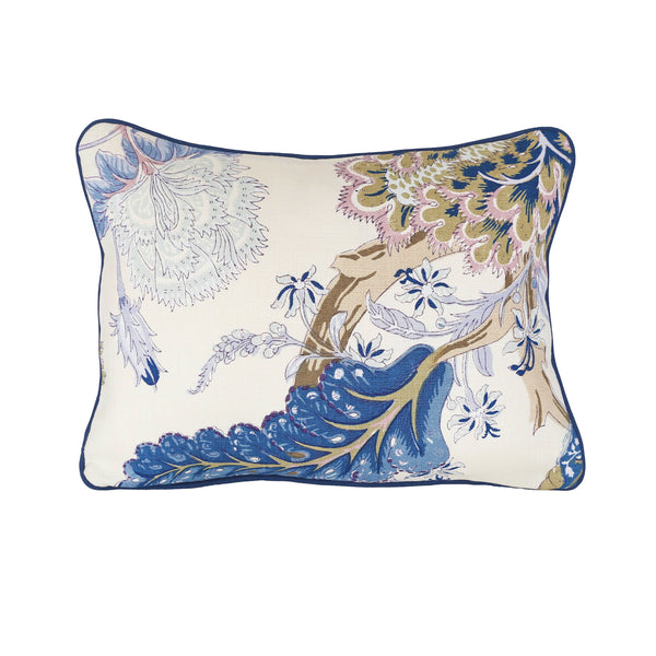 READY TO SHIP - Indian Arbre Hyacinth with Navy Piping 13x17 (with insert)