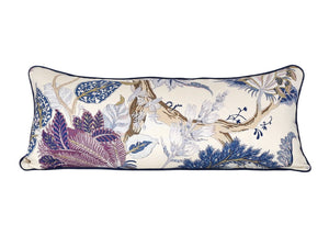 READY TO SHIP - Indian Arbre Hyacinth with Navy Piping 14x33
