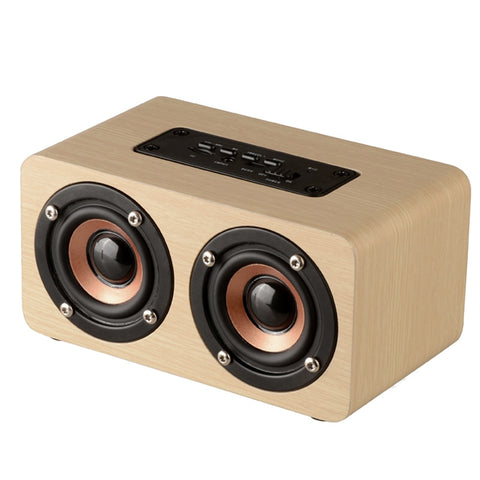 W5 Retro Wood Bluetooth Speaker HIFI Dual Loudspeakers TF Card AUX IN MP3 Player
