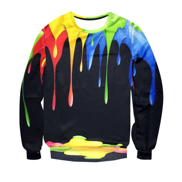 Mens Fashion Long Sleeve Splash-ink 3D Printed Sweatshirt Top Blouse