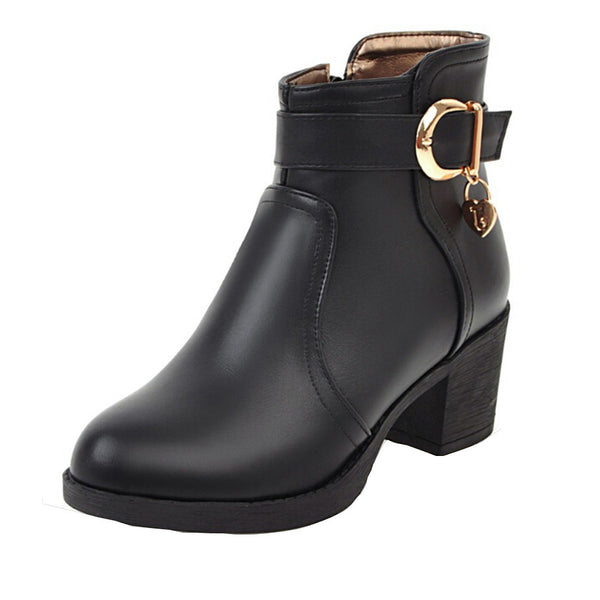 Women Leather Bruckle Strap Round Toe Shoes Leather Square High Heel Boots