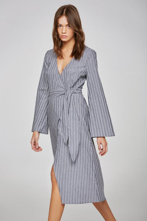 BARBADOS STRIPE LONG SLEEVE WRAP DRESS