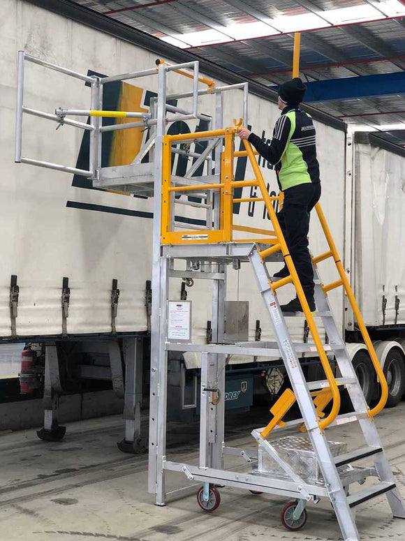 BTS Aluminum Adjustable Work Platform. Platform Height Adjustable from 1.4m-3.8m. Australian Certified. 3 Year Warranty