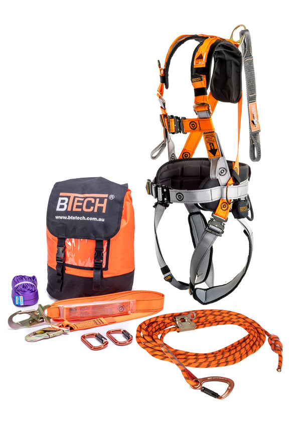 BTS ComfortFit Roofers Kit - The Ultimate Working at Heights Kit c/w 15m Kermantle Rope,Harness,Lanyard & Karabiners