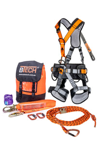 BTS Premium Roofers Kit - The Ultimate Working at Heights Kit c/w 15m Kermantle Rope,Harness,Lanyard & Karabiners