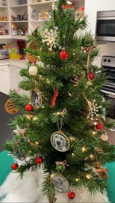 Christmas Tree in kitchen with DIY ornaments