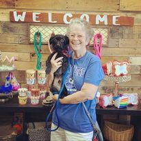 rescue dog Blue with new owner