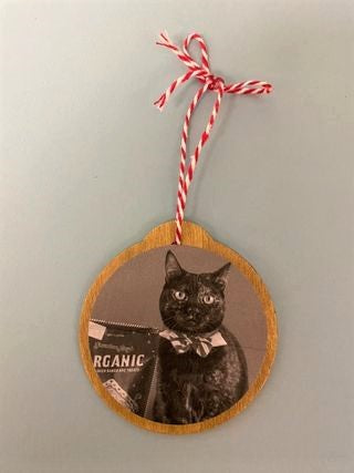 Ornament with picture and string on grey background