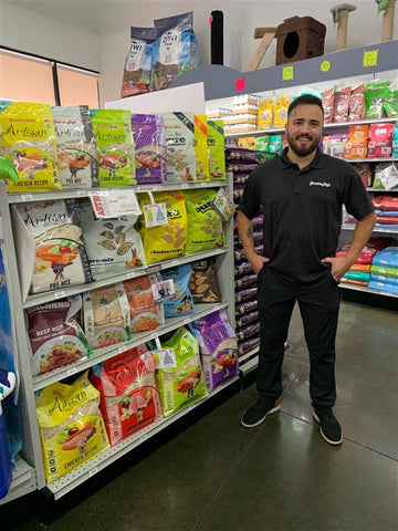 Key account manager, Dom, stands in front of Grandma Lucy's products