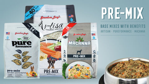 Photo of Artisan Pre-MIx, Pureformance Pre-Mix, and Macanna Pre-Mix bags with a bowl of food