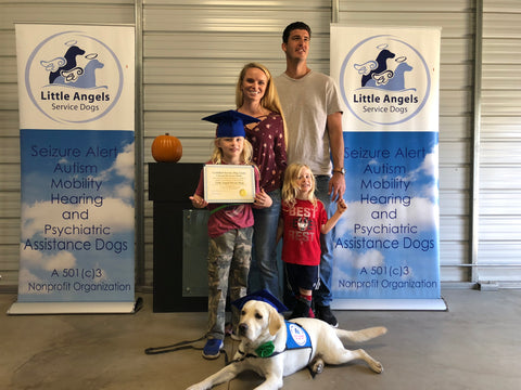 family receiving service dog