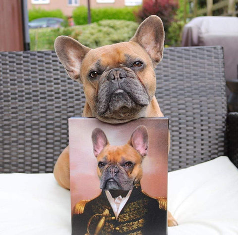 French Bulldog sitting with portrait of himself dressed as royalty.