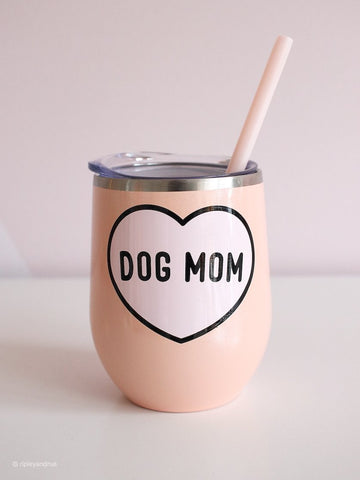 Pink sparkly dog mom wine tumbler with heart