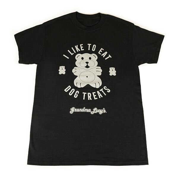 "Black T-shirt with a bear logo and the words ""I like to eat dog treats"" printed across the front"