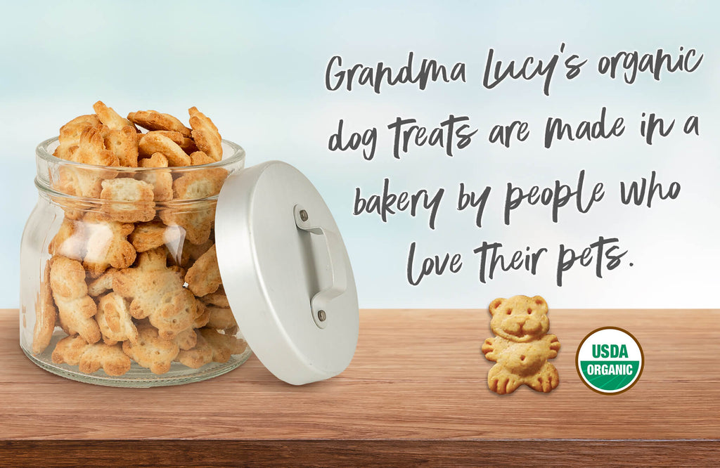 Jar of Grandma Lucy's organic treats. Grandma Lucy's organic dog treats are made in a bakery by people who love their pets