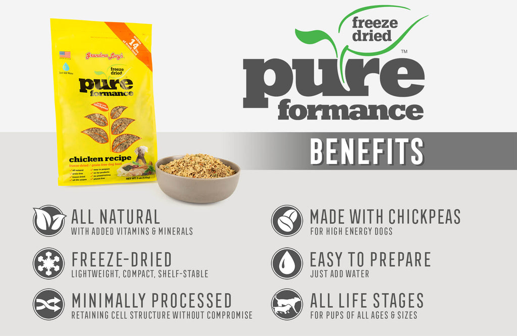 Pureformance Benefits: All Natural, Freeze-Dried, Minimally Processed, Made with Chickpeas, Easy To Prepare, All Life Stages