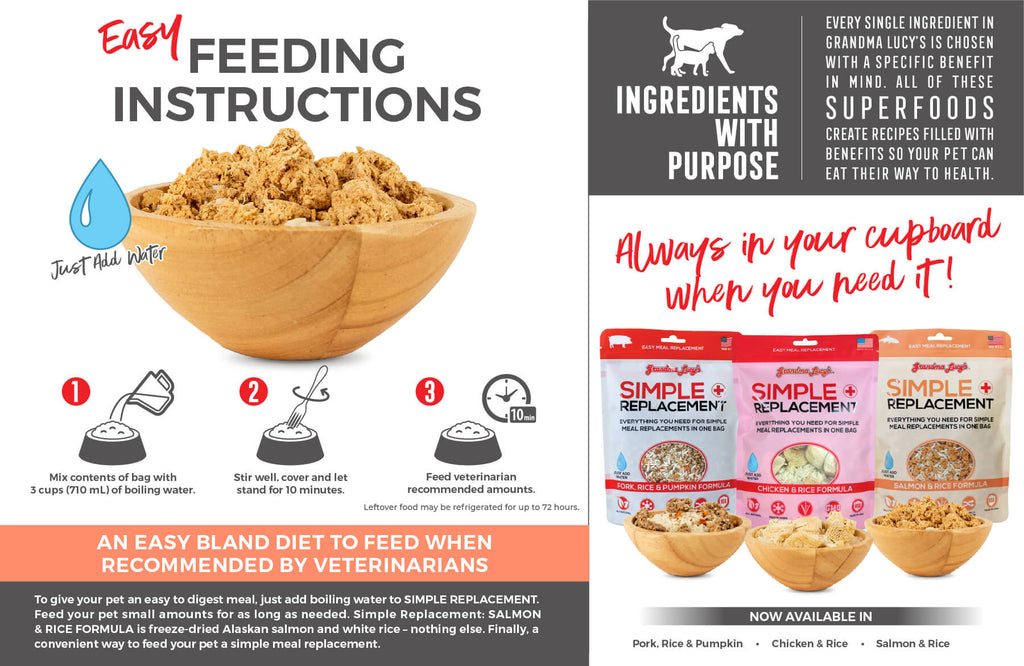Feeding Instructions: Mix contents of bag with 3 cups (710mL) of boiling water. Stir well, cover and let stand for 10 minutes. Feed veterinarian recommended amounts. An easy bland diet to feed when recommended by veterinarians. Always in your cupboard when you need it. Available in Chicken and Rice, Pork, Rice and Pumpkin, Salmon and Rice.