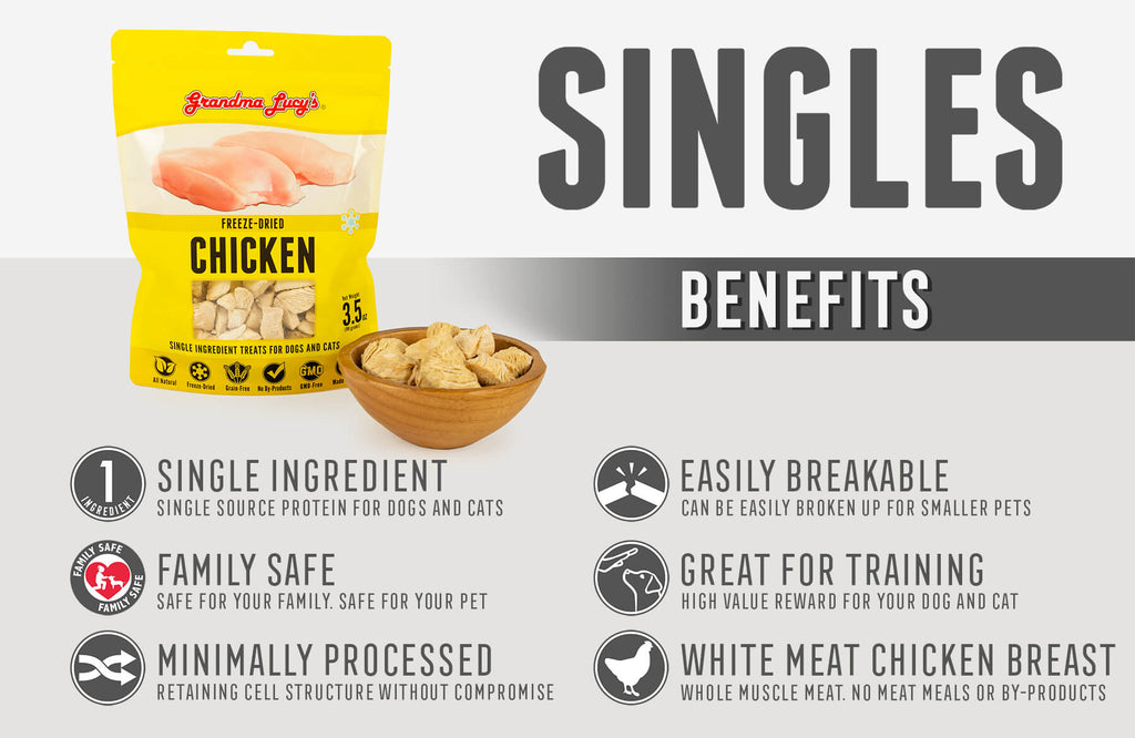 Singles Benefits: Single Ingredient, Family Safe, Minimally Processed, Easily Breakable, Great for Training, White meat chicken breast