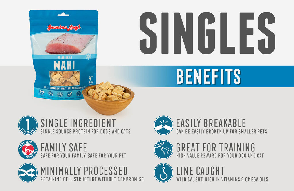 Singles Benefits: Single Ingredient, Family Safe, Minimally Processed, Easily Breakable, Great for Training, Line Caught