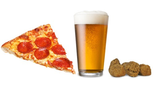 Slice of pizza, glass of beer and freeze-dried meatball treats