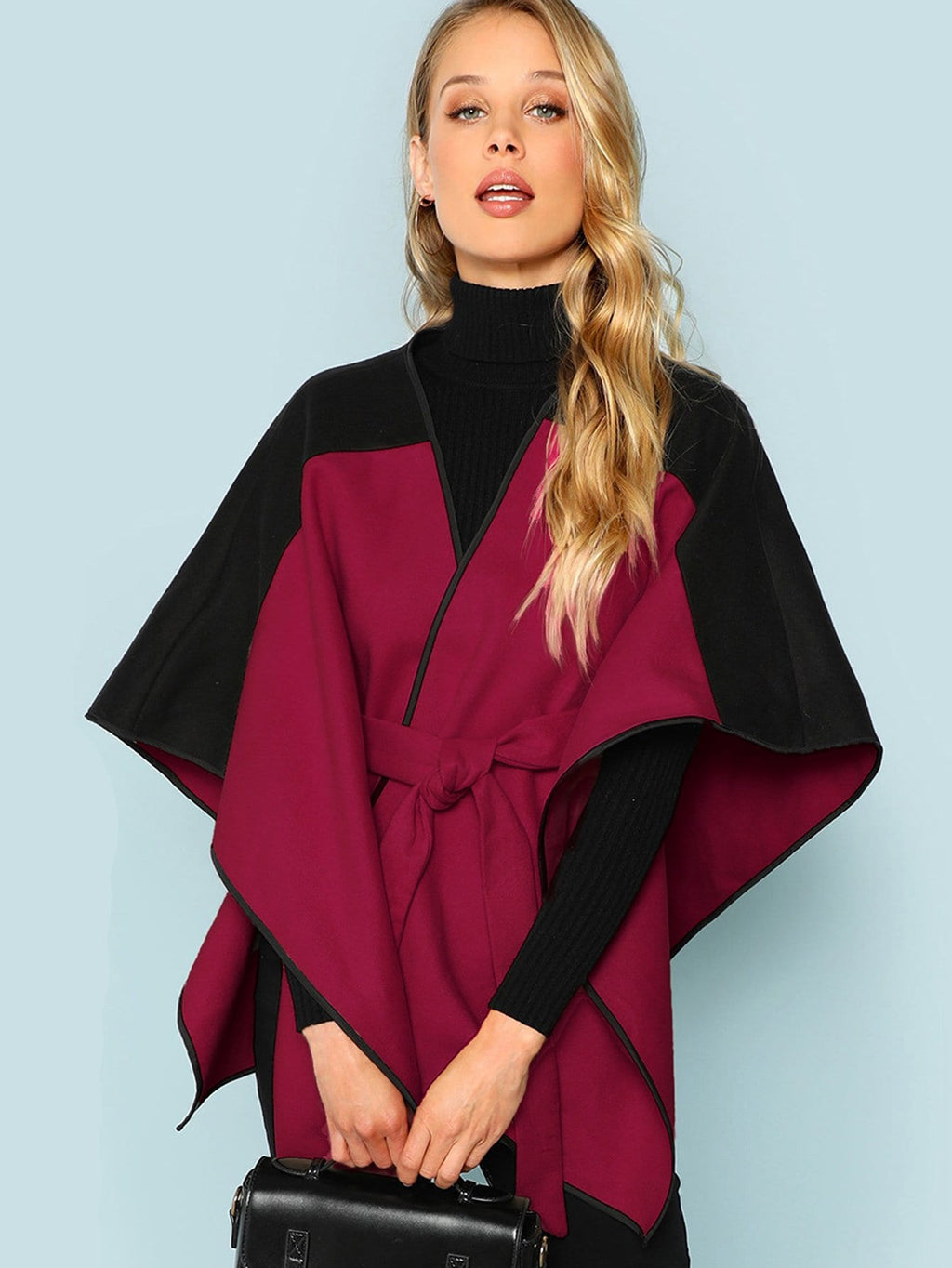 Two Tone Belted Poncho Coat