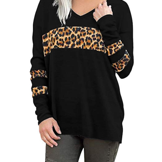 autumn winter V Neck Sweater Leopard Print Long Sleeve
