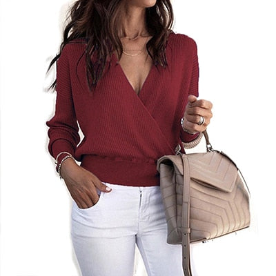 V-neck Sweater Tops Women Casual Autumn Winter