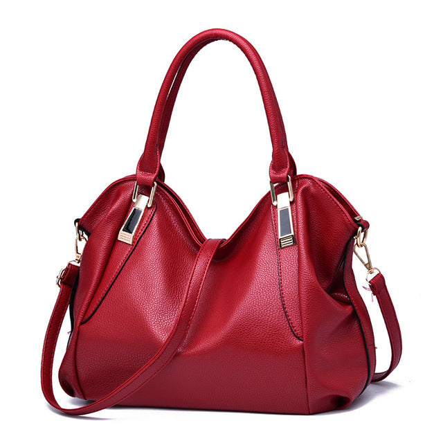 Women shoulder bags Solid Top-Handle handbag ladies PU leather High quality