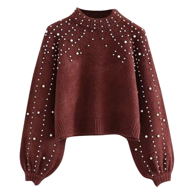 Women's Casual Sweater   Autumn Winter Casual Loose Pearl Sweater