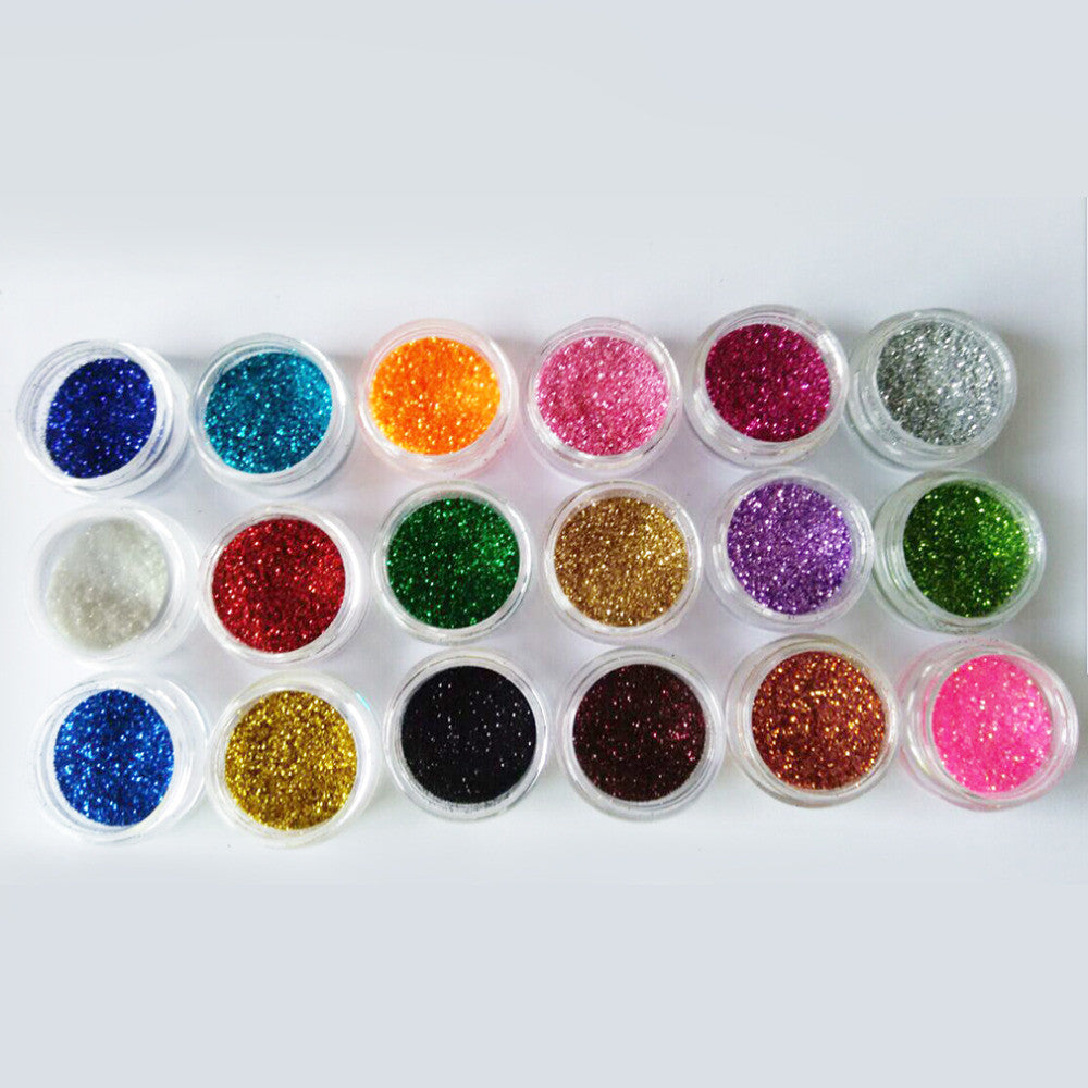 18Colors/set Nail Art acrylic Glitter Nail Art Tool Kit Acrylic UV Powder Dust gem