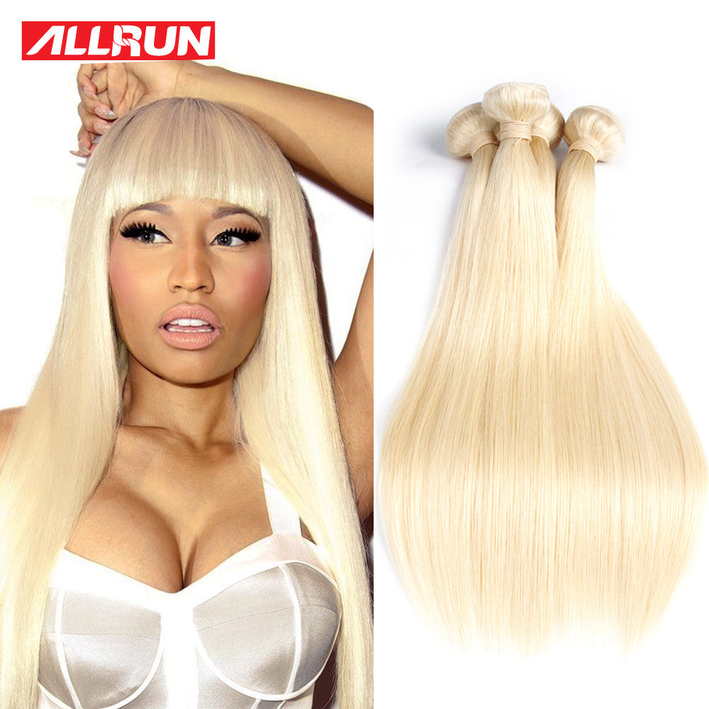 7A Quality Blonde Virgin Hair Straight 4 Bundles Brazilian Hair Platinum Weave