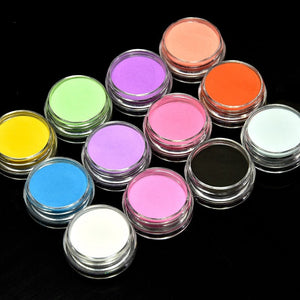 12Jars/Set 12 Colors Acrylic Powder UV Gel Tips Glitter Nail Decoration Powder