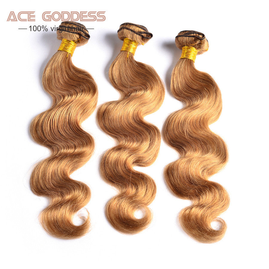 Honey Blonde Brazilian Hair Weave Bundles Color 27# Brazilian Body Wave Human Hair 7A Grade Brazilian Virgin Hair Blonde No Shed