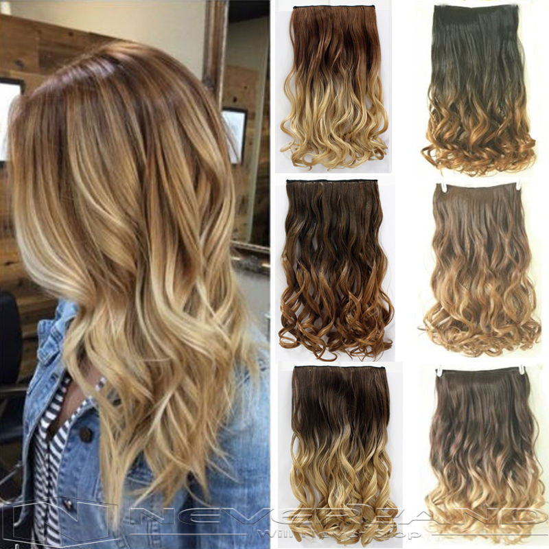 "Hot Sale 24"" 60cm Curly Wavy  One Piece Hair Extentions Weave 3/4 Full Head Clip In"