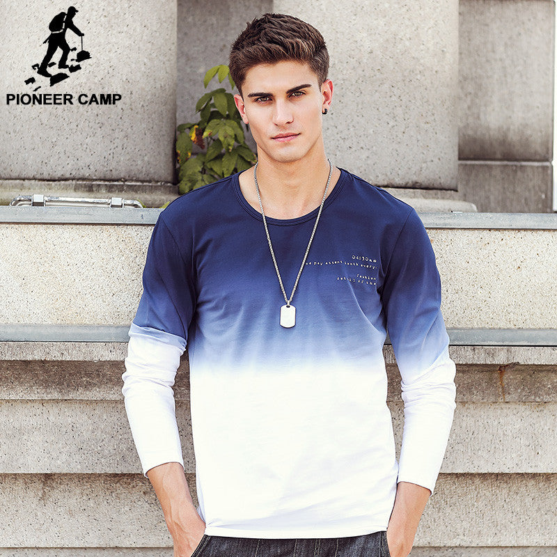 Men T Shirt Fashion O-Neck casual Long Sleeve T-Shirt Gradient