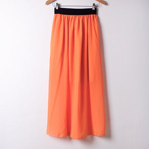 Summer Chiffon Skirt Casual Style Sashes Empire Mid-Calf Skirts 20 Colors Free Size
