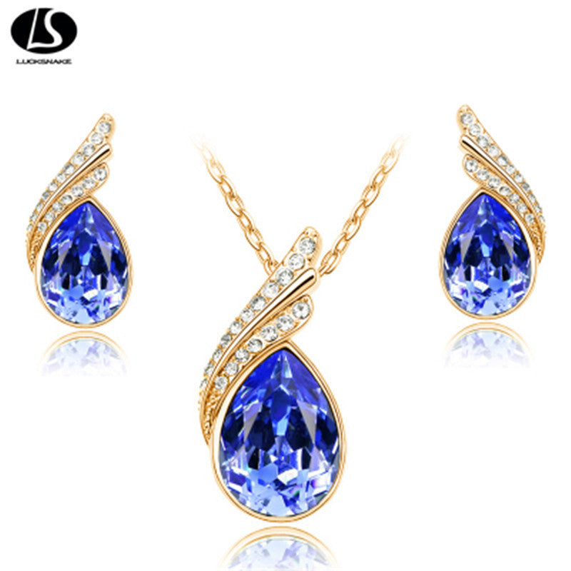 Fashion Austria Crystal Water drop Leaves Earrings necklace jewelry sets Classic design yellow Gold plated