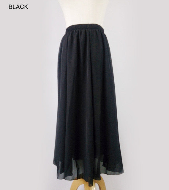 Women's High Quality Chiffon Long Skirt High Waist Elastic Waist Candy colors