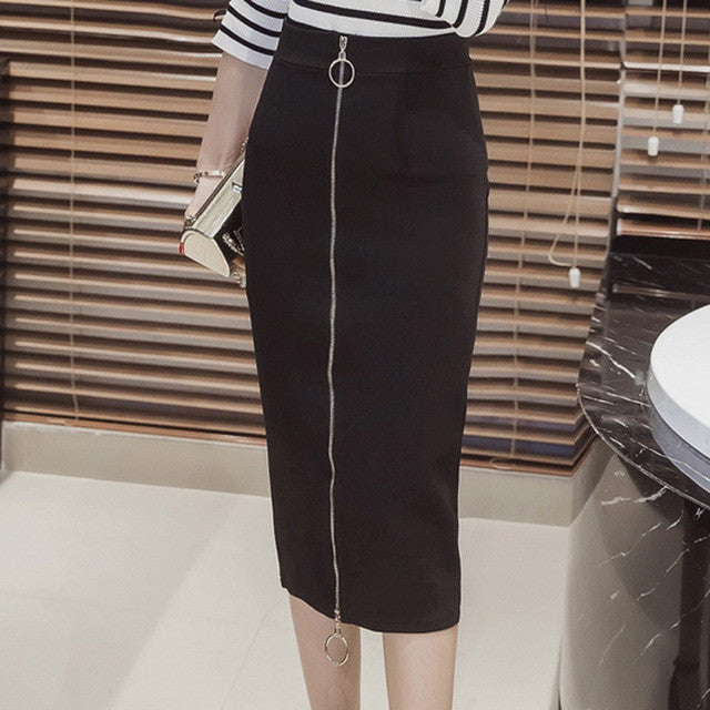 Women Pencil Skirts Autumn 2016 Elegant High Waist Bodycon Skirt Fashion Zipper Elastic Work Office Skirt