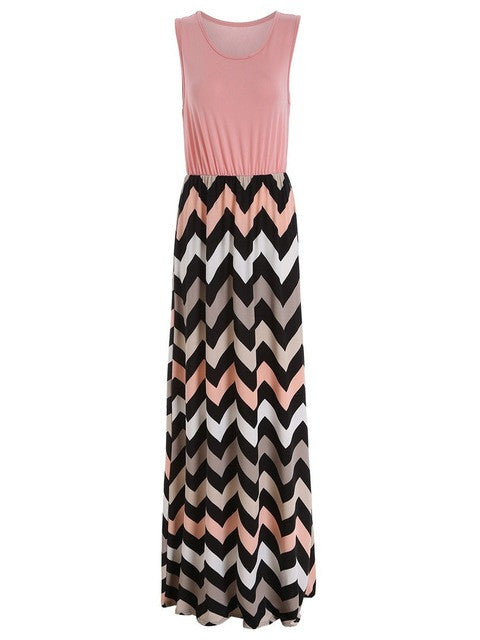 Maxi Skirts Contrast Chevron Tank Sleeveless High Waist Casual Summer Style