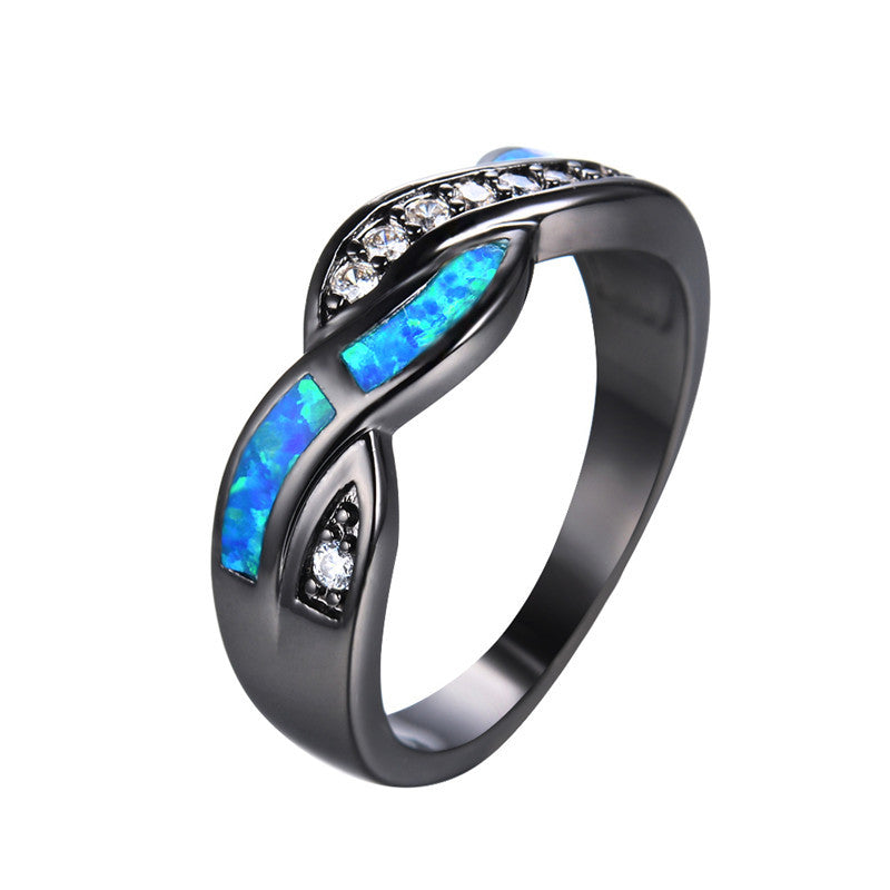 Fashion Blue Fire Opal CZ Cross Ring For Women Black Gold Filled Zircon Ring Wedding Jewelry