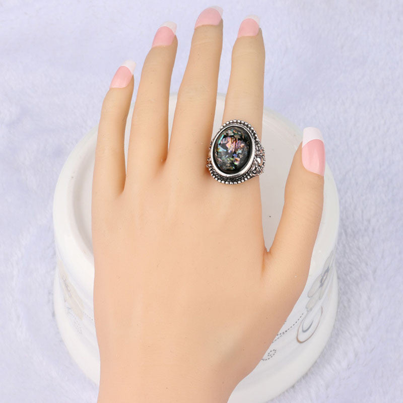 Jewelry stering Vintage silver ring Wedding big Rings for women Rhinestone Oval Rings jz269 ceramique templar ring
