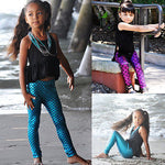 Little Mermaid Leggings Kids Girls Blue Fish Scale Pants