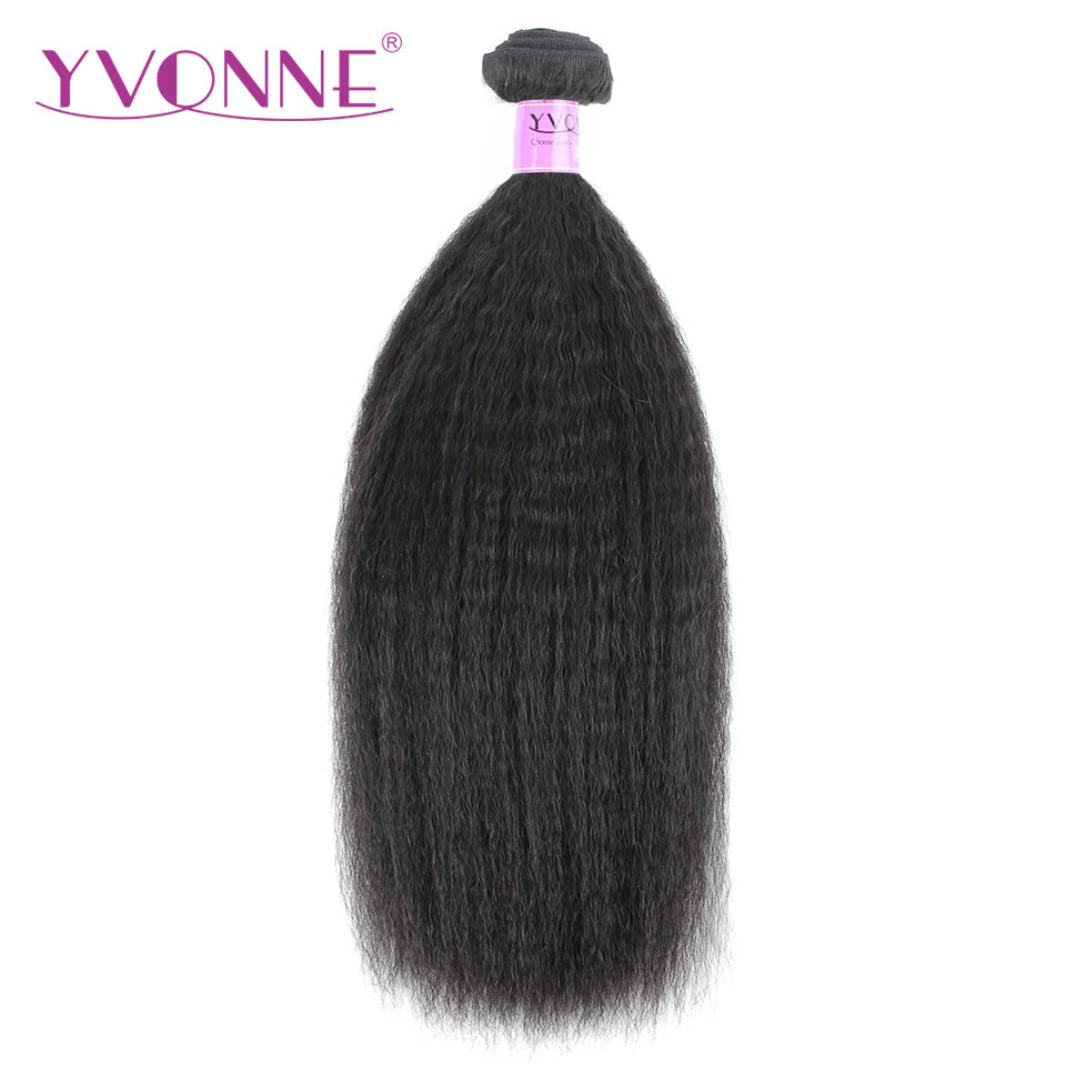 Yvonne Kinky Straight Brazilian Virgin Hair 1 Piece Natural Color 100% Human Hair Weaving Free shipping